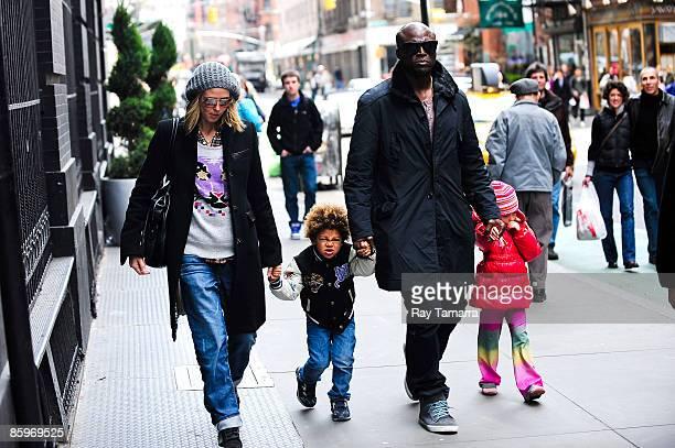 Television personality Heidi Klum son Henry Samuel singer Seal and daughter Leni Klum walk in Soho on April 13 2009 in New York City
