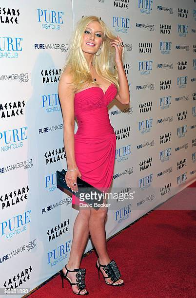 Television personality Heidi Montag arrives to host an evening at the Pure Nightclub at Caesars Palace early February 14 2010 in Las Vegas Nevada