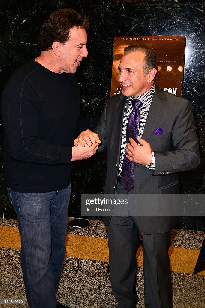 Television personality <a gi-track='captionPersonalityLinkClicked' href=/galleries/search?phrase=Jake+Steinfeld&family=editorial&specificpeople=2860297 ng-click='$event.stopPropagation()'>Jake Steinfeld</a> and Ray 'Boom Boom' Mancini arrive at the Los Angeles premiere of 'The Good Son' at Linwood Dunn Theater at the Pickford Center for Motion Study on March 28, 2013 in Hollywood, California.