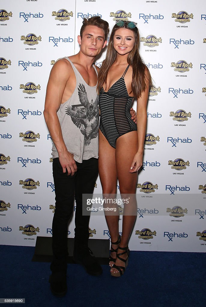 Television personality James Kennedy (L) from 'Vanderpump Rules' and Raquel Leviss arrive at the Hard Rock Hotel & Casino's Rehab pool party on May 30, 2016 in Las Vegas, Nevada.