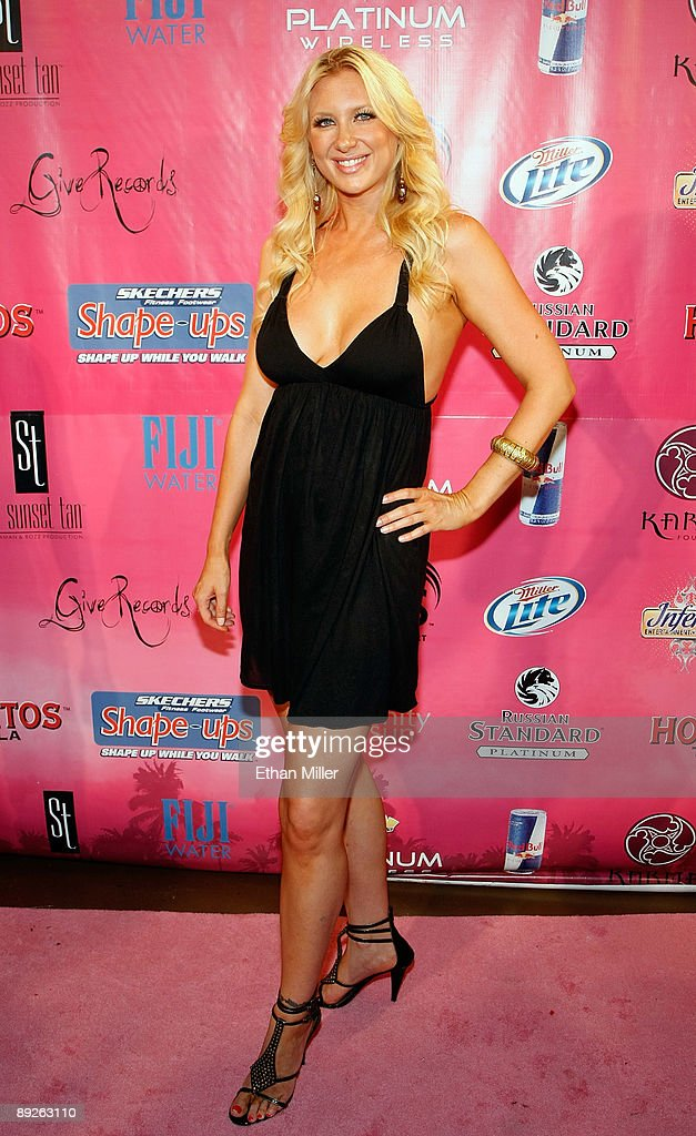 Television personality Janelle Perry from the show 'Sunset Tan' arrives at the Kandy Vegas lingerie party at the Palms Casino Resort July 25, 2009 in Las Vegas, Nevada.