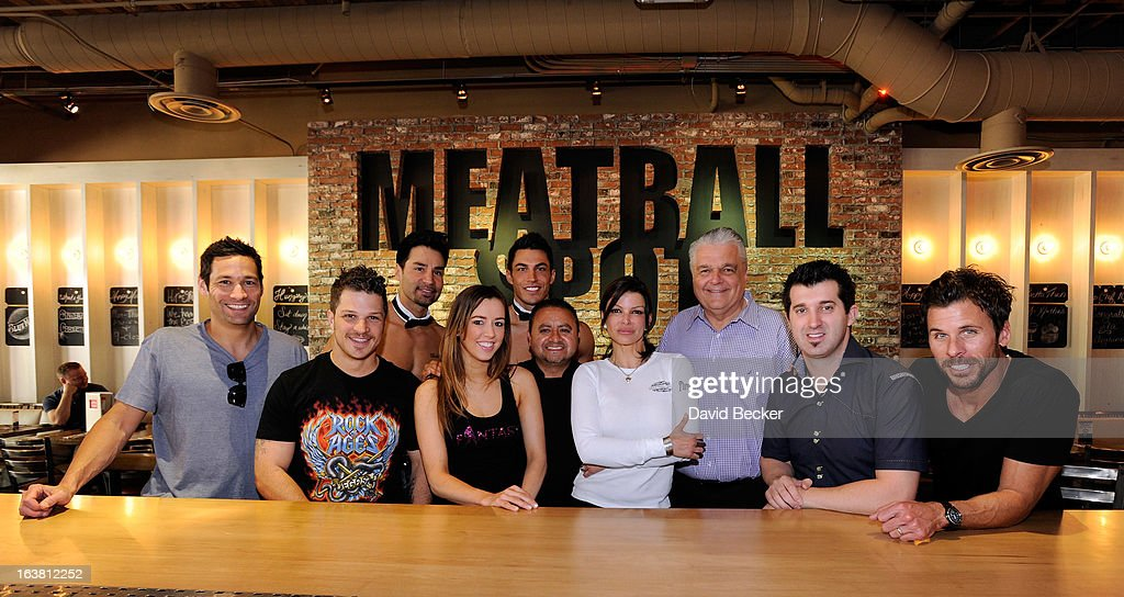 television personality Jason Feinberg, actor Mark Shunock, Chippendales dancer Juan DeAngelo, Mariah of the production show 'Fantasy', Chippendales dancer Jon Howes, chef Saul Ortiz-Cruz, chef Carla Pellegrino, Clark County Commissioner Steve Sisolak, hypnotist Marc Savard and radio personality JC Fernandez appear at the meatball eating contest at the Meatball Spot on March 16, 2013 in Las Vegas, Nevada.