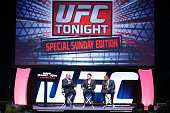 Television personality Jay Glazer Brian Stahn and Daniel Cormier speak on the main stage during the UFC Fan Expo 2014 during UFC International Fight...