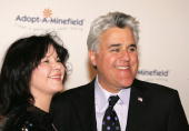 Television personality Jay Leno and wife Mavis Nicholson attends the Fifth Annual AdoptAMinefield Gala night held at the Beverly Hilton Hotel on...