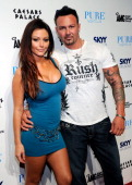 Television personality Jenni 'JWOWW' Farley and her boyfriend Roger Mathews arrive for an appearance at the Pure Nightclub at Caesars Palace early on...