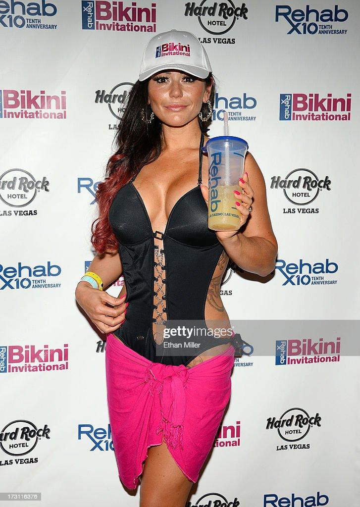 Television personality Jenni 'JWOWW' Farley arrives at the Hard Rock Hotel & Casino to host the second round of preliminary eliminations for the Rehab Bikini Invitational 2013 on July 7, 2013 in Las Vegas, Nevada.