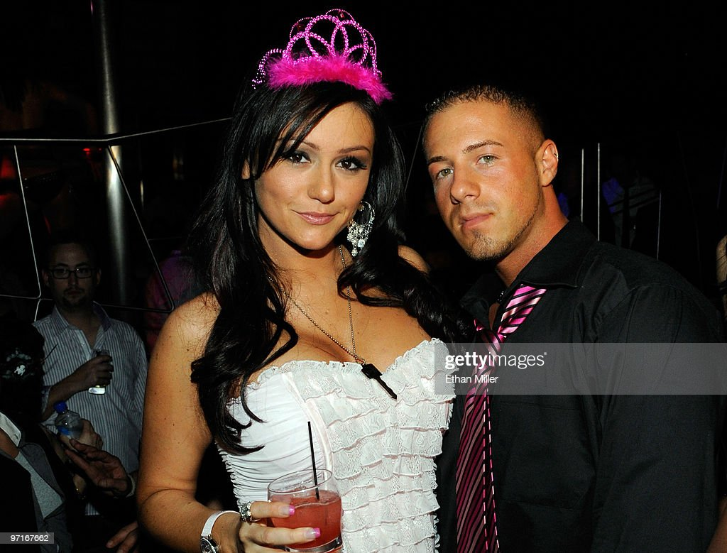 Television personality Jenni 'JWoWW' Farley (L) from the MTV show, 'Jersey Shore' and her boyfriend and manager Tom Lippolis appear at Moon nightclub at the Palms Casino Resort to celebrate her 25th birthday February 27, 2010 in Las Vegas, Nevada.