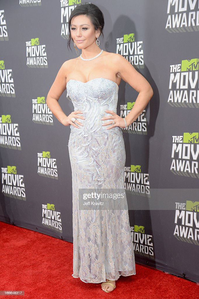 Television personality Jennifer 'JWoww' Farley attends the 2013 MTV Movie Awards at Sony Pictures Studios on April 14, 2013 in Culver City, California.