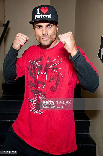 Television personality Jeremy Jackson poses backstage at the FilmOn 'Celebrity Fight Night' at Avalon on November 5 2011 in Hollywood California