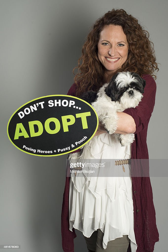 Television personality Jerri Manthey poses for Portraits For Pooches on March 30, 2014 in Beverly Hills, California.