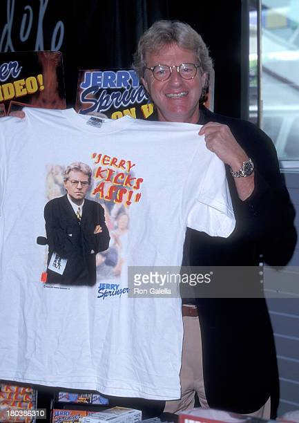 Television personality Jerry Springer promotes the release of the new VHS 'Jerry Springer Too Hot for TV' on July 22 1998 at The Wherehouse Beverly...