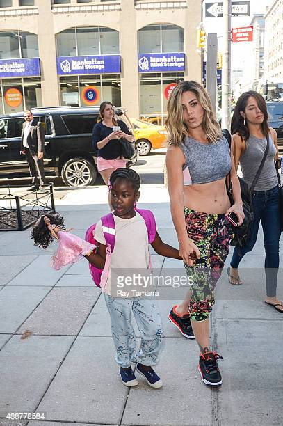 Television personality Jillian Michaels and Lukensia Michaels Rhoades enter their Soho hotel on September 17 2015 in New York City