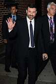 Television personality Jimmy Kimmel leaves 'The Late Show With Stephen Colbert' taping at the Ed Sullivan Theater on October 16 2015 in New York City