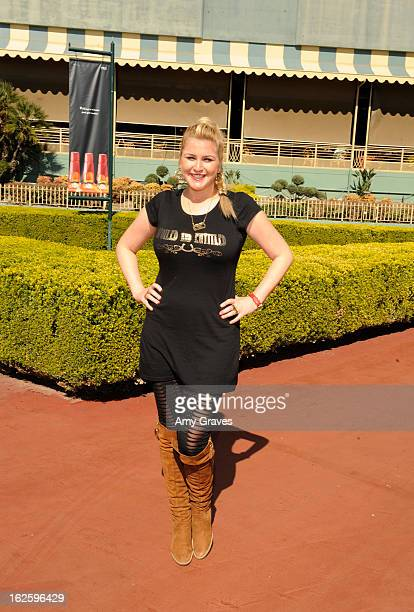 Television personality Josie Goldberg attends her race horse SpoiledandEntitled's race at Santa Anita Park on February 24 2013 in Arcadia California