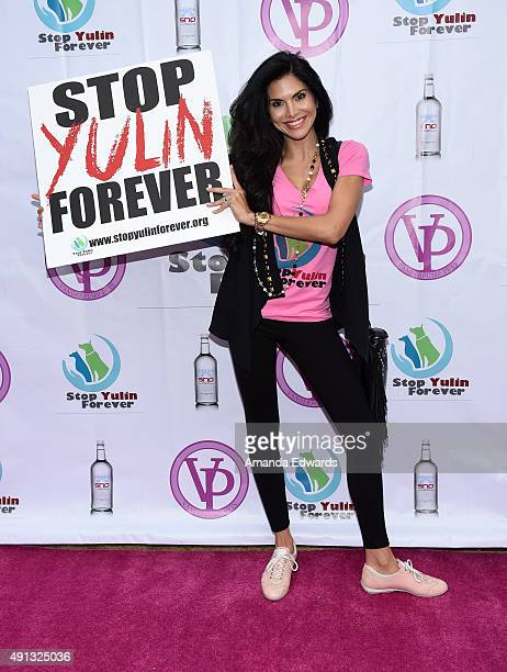 Television personality Joyce Giraud attends the StopYulinForever March to End Dog Cruelty in Yulin China at MaCarthur Park Recreation Center on...