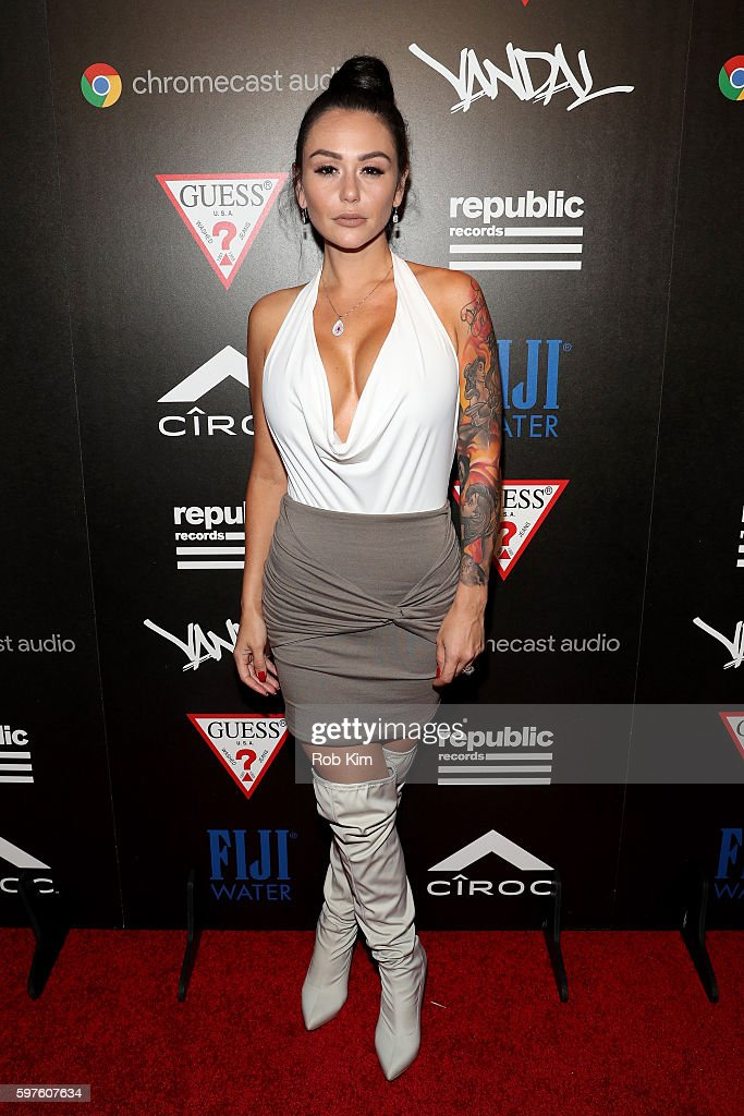 Television personality JWoww attends a celebration with Republic Records and Guess after the 2016 MTV Video Music Awards at Vandal with cocktails by...
