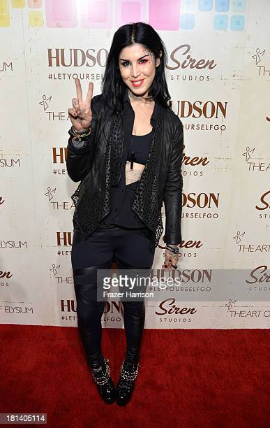 Television personality Kat Von D arrives at Hudson Jeans Presents The Art of Elysium's Genesis Celebrating Emerging Artists at Siren Cube on...