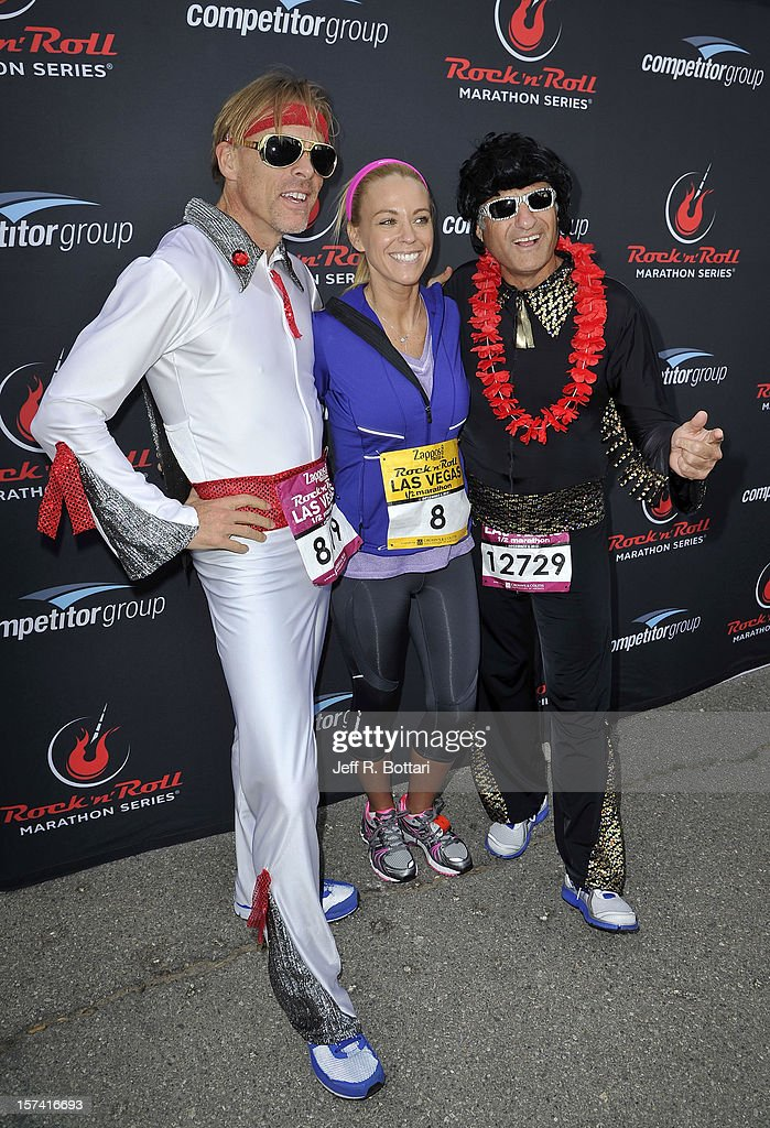 Television personality Kate Gosselin (C) arrives with two Elvis Presley impersonators at the Zappos.com Rock 'n' Roll Las Vegas Marathon and Half-Marathon on December 2, 2012 in Las Vegas, Nevada.