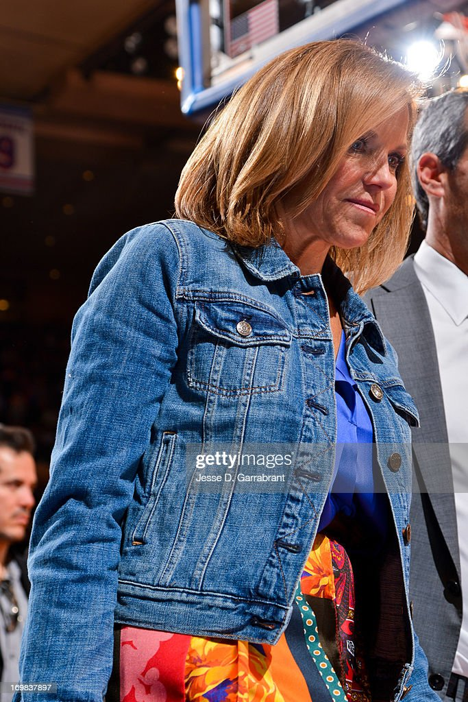 Television personality Katie Couric leaves the court after the Boston Celtics played the New York Knicks in Game Five of the Eastern Conference Quarterfinals during the 2013 NBA Playoffs on May 1, 2013 at Madison Square Garden in New York City