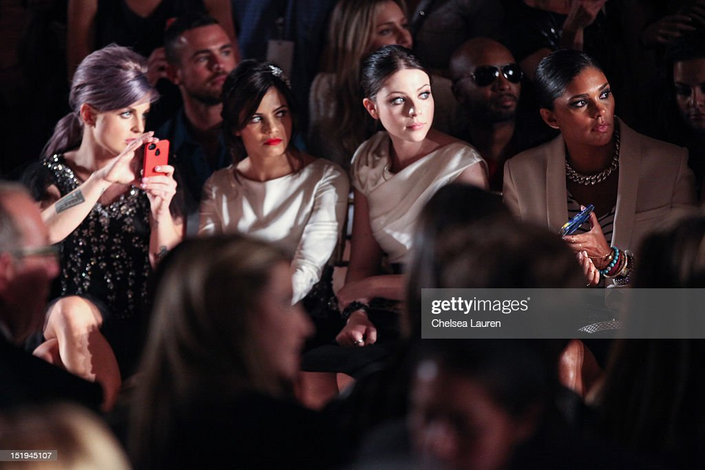 Television personality Kelly Osbourne, actress Jenna Dewan, actress Michelle Trachtenberg and designer Rachel Roy attend the Marchesa spring 2013 fashion show during Mercedes-Benz Fashion Week at Vanderbilt Hall at Grand Central Terminal on September 12, 2012 in New York City.