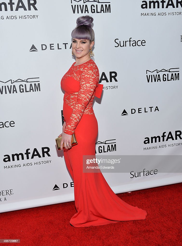 Television personality <a gi-track='captionPersonalityLinkClicked' href=/galleries/search?phrase=Kelly+Osbourne&family=editorial&specificpeople=156416 ng-click='$event.stopPropagation()'>Kelly Osbourne</a> arrives at amfAR The Foundation for AIDS 4th Annual Inspiration Gala at Milk Studios on December 12, 2013 in Hollywood, California.