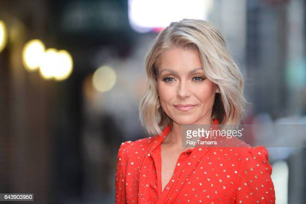Television personality Kelly Ripa enters the 'The Late Show With Stephen Colbert' taping at the Ed Sullivan Theater on February 22 2017 in New York...