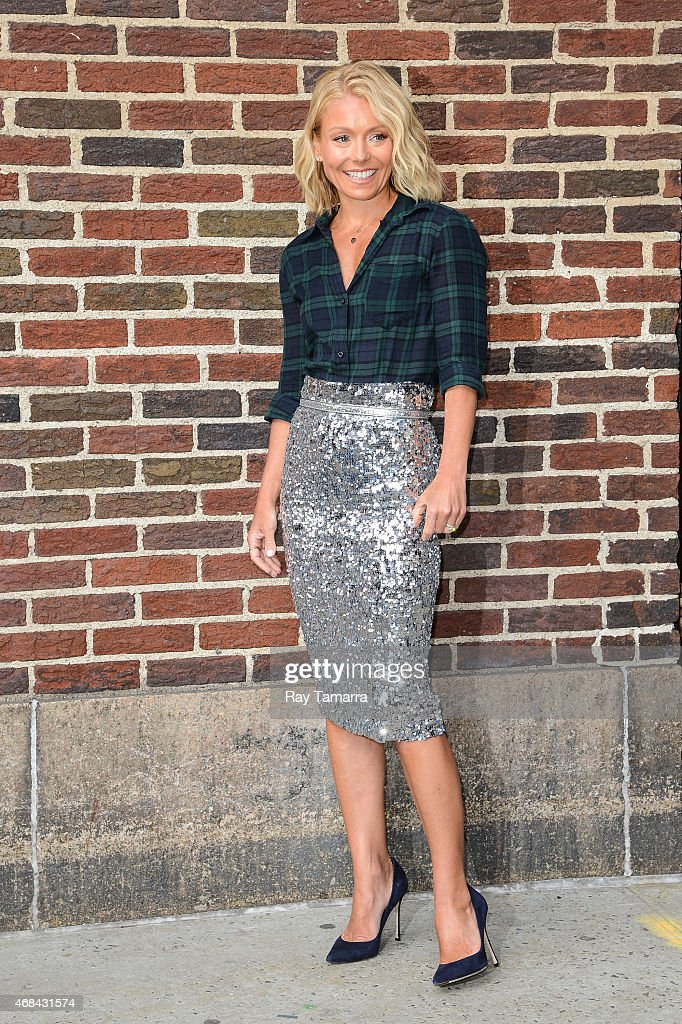 Television personality Kelly Ripa leaves the 'Late Show With David Letterman' taping at the Ed Sullivan Theater on April 2 2015 in New York City