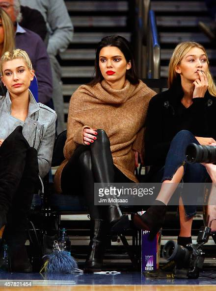 Television personality Kendall Jenner attends a game between the New York Knicks and the Washington Wizards at Madison Square Garden on October 22...
