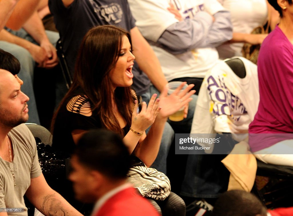 Television personality Khloe Kardashian attends Game 2 of the NBA Finals between the Los Angeles Lakers and Boston Celtics at the Staples Center on June 6, 2010 in Los Angeles, California.