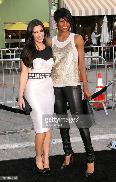 Television personality Kim Kardashian and singer Ciara arrive at the Los Angeles premiere of 'Orphan' at the Mann Village Theatre on July 21 2009 in...