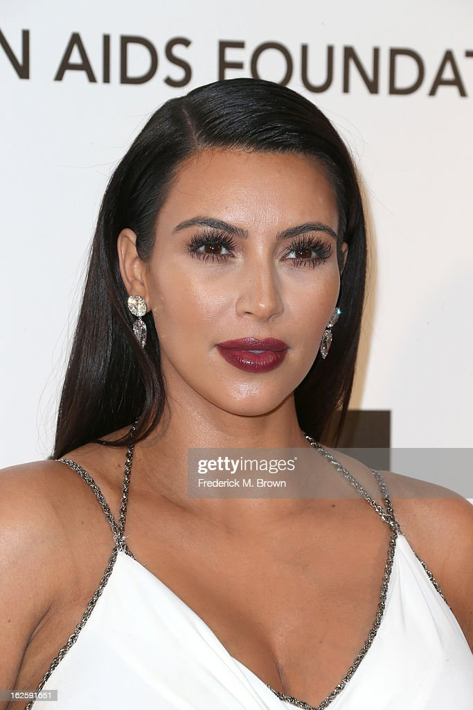 Television Personality Kim Kardashian arrives at the 21st Annual Elton John AIDS Foundation's Oscar Viewing Party on February 24, 2013 in Los Angeles, California.