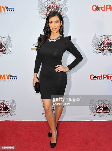 Television personality Kim Kardashian arrives at the Aces Angels Celebrity Poker Party at The Playboy Mansion on July 11 2009 in Beverly Hills...