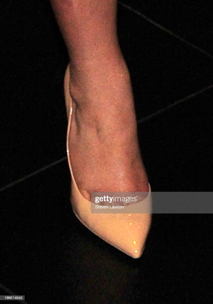 Television personality Kim Kardashian (shoe detail) arrives at the Kardashian Khaos store at The Mirage Hotel & Casino for a fan meet-and-greet to support her perfume, Glam, on April 13, 2013 in Las Vegas, Nevada.