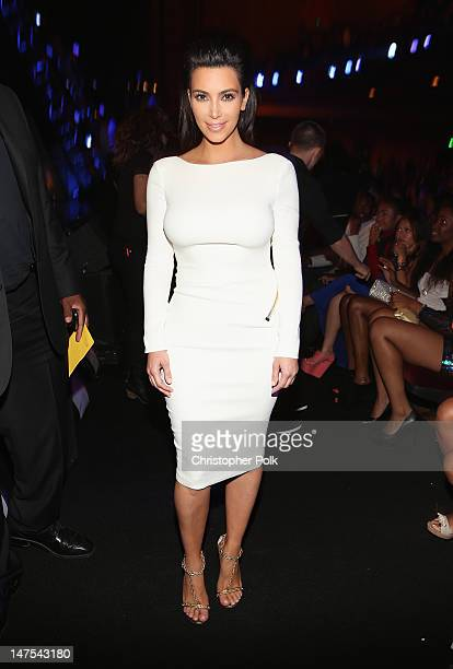 Television personality Kim Kardashian attends the 2012 BET Awards at The Shrine Auditorium on July 1 2012 in Los Angeles California
