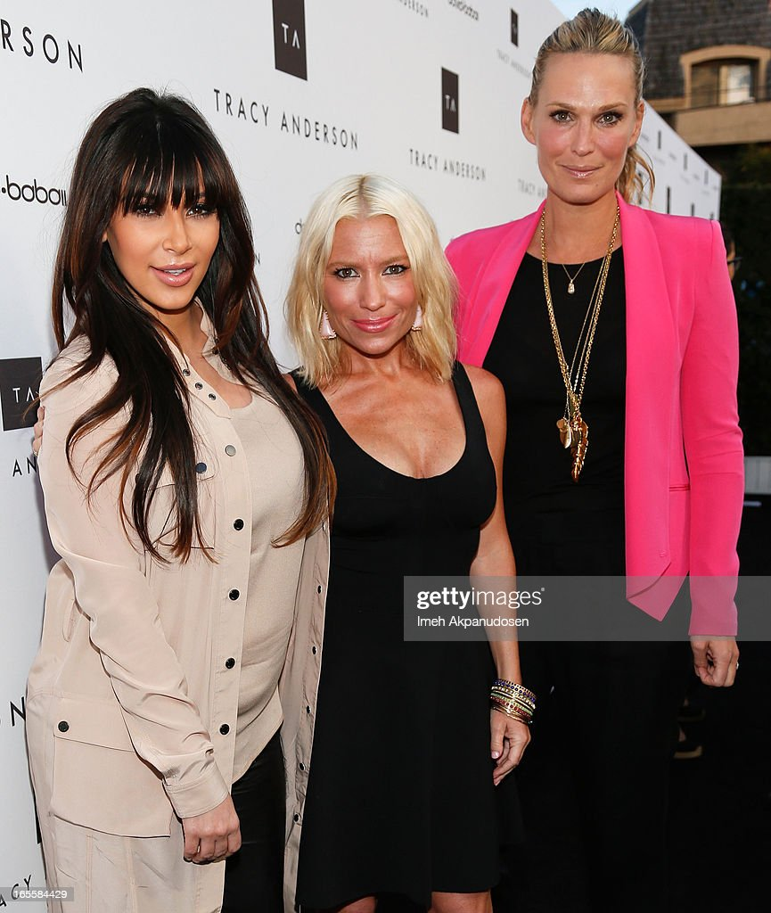 Television personality Kim Kardashian multiplatform fitness/wellness entrepreneur Tracy Anderson and actress Molly Sims attend the opening of Tracy...