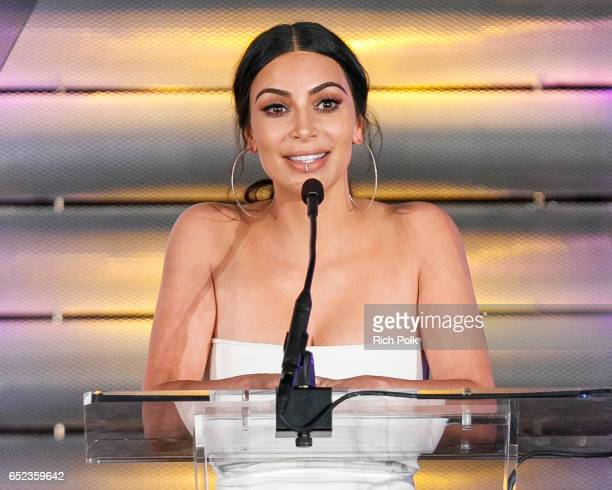 Television personality Kim Kardashin speaks onstage at the Family Equality Council's Impact Awards at the Beverly Wilshire Hotel on March 11 2017 in...