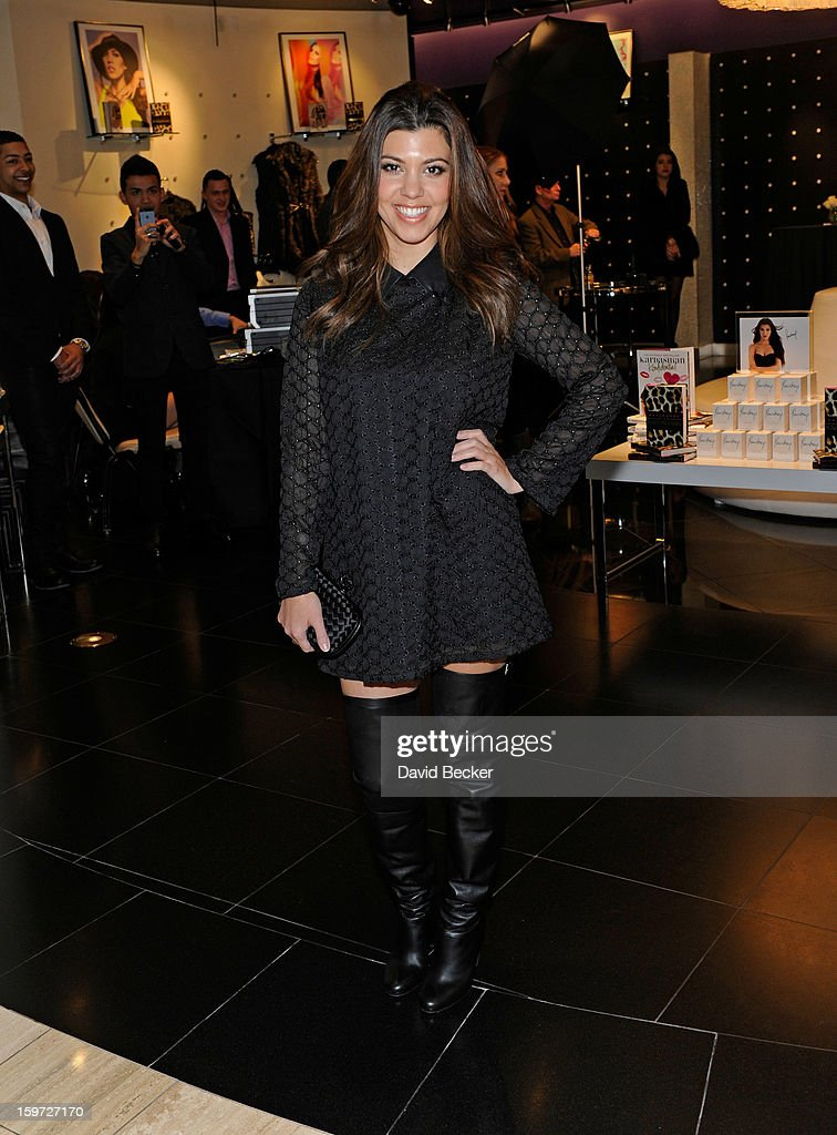 Television personality Kourtney Kardashian arrives for an appearance at the Kardashian Khaos store at The Mirage Hotel & Casino on January 19, 2013 in Las Vegas, Nevada.