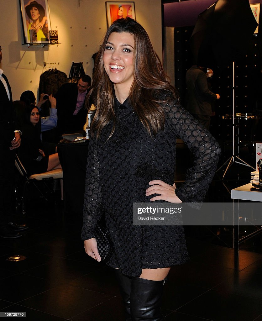 Television personality <a gi-track='captionPersonalityLinkClicked' href=/galleries/search?phrase=Kourtney+Kardashian&family=editorial&specificpeople=3955024 ng-click='$event.stopPropagation()'>Kourtney Kardashian</a> arrives for an appearance at the Kardashian Khaos store at The Mirage Hotel & Casino on January 19, 2013 in Las Vegas, Nevada.