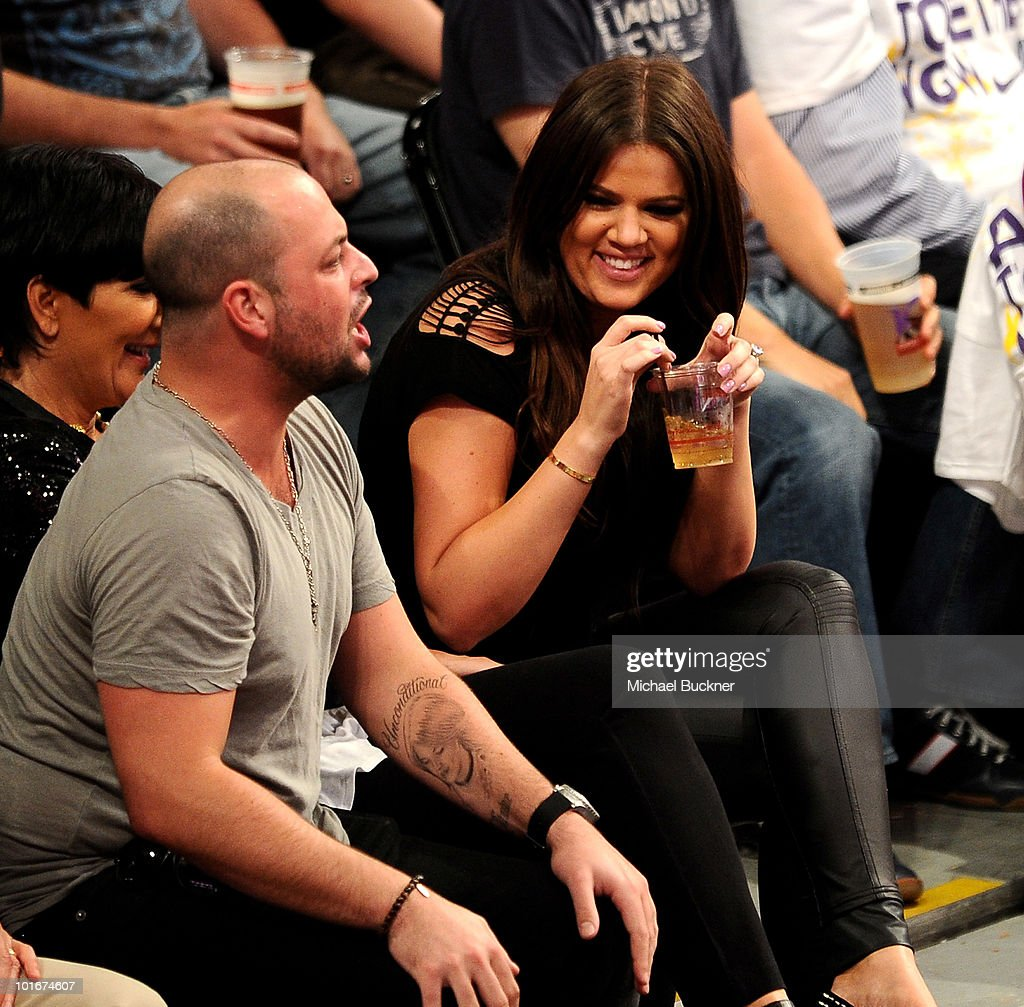 Television personality Kris Jenner (C) and Khloe Kardashian attend Game 2 of the NBA Finals between the Los Angeles Lakers and Boston Celtics at the Staples Center on June 6, 2010 in Los Angeles, California.