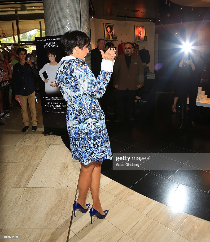 Television personality <a gi-track='captionPersonalityLinkClicked' href=/galleries/search?phrase=Kris+Jenner&family=editorial&specificpeople=762610 ng-click='$event.stopPropagation()'>Kris Jenner</a> poses for a photograph at the Kardashian Khaos store at The Mirage Hotel & Casino at on October 26, 2013 in Las Vegas, Nevada.