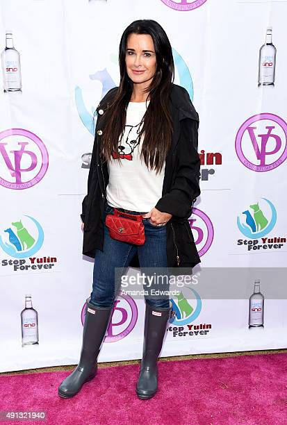 Television personality Kyle Richards attends the StopYulinForever March to End Dog Cruelty in Yulin China at MaCarthur Park Recreation Center on...