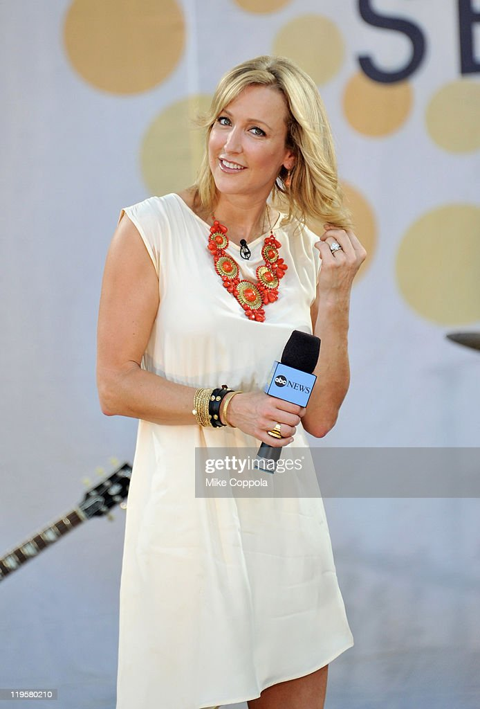 Television personality Lara Spencer speaks to the audience on ABC's 'Good Morning America' at Rumsey Playfield, Central Park on July 22, 2011 in New York City.