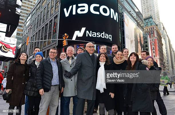 Television personality Larry Wilmore and Comedy Central executives attend Viacom Inc Comedy Central's 'The Nightly Show With Larry Wilmore' Ring The...