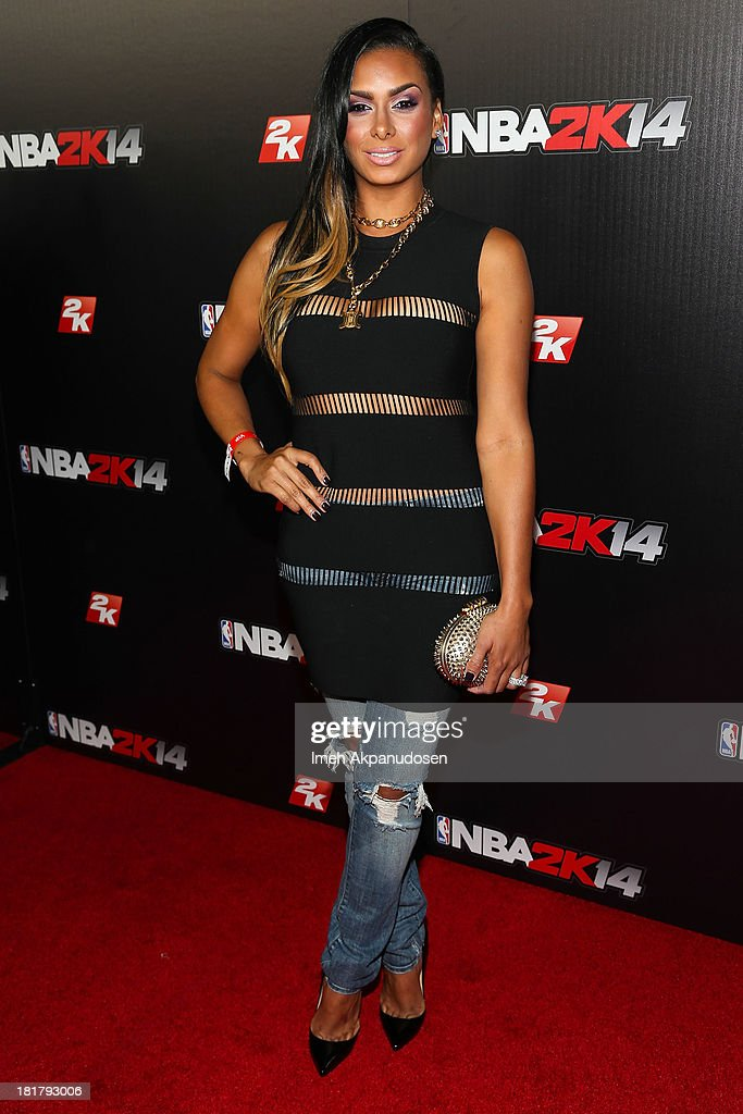 Television personality Laura Govan attends the premiere party for the NBA2K14 video game at Greystone Mansion on September 24, 2013 in Beverly Hills, California.