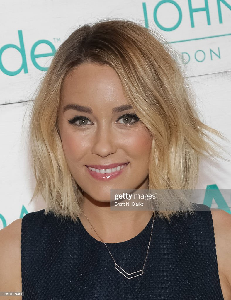 Television personality Lauren Conrad arrives for the John Frieda Hair Care Beach Blonde Collection Launch Party at the Garage on February 5 2015 in...