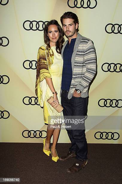Television personality Louise Roe and Josh Slack arrives at the Audi Golden Globe 2013 Kick Off Party at Cecconi's Restaurant on January 6 2013 in...