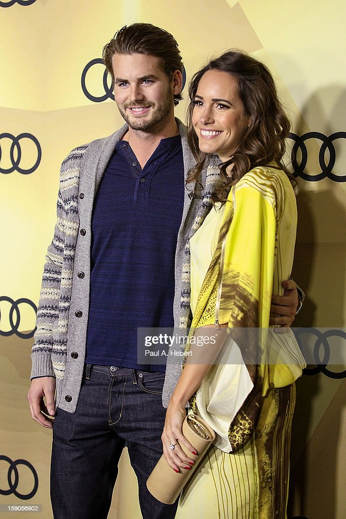 Television personality Louise Roe (L) and Josh Slack arrives at the Audi Golden Globe 2013 Kick Off Party at Cecconi's Restaurant on January 6, 2013 in Los Angeles, California.