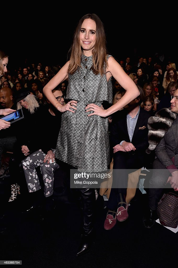 Television personality Louise Roe attends the Monique Lhuillier fashion show during MercedesBenz Fashion Week Fall 2015 at The Theatre at Lincoln...