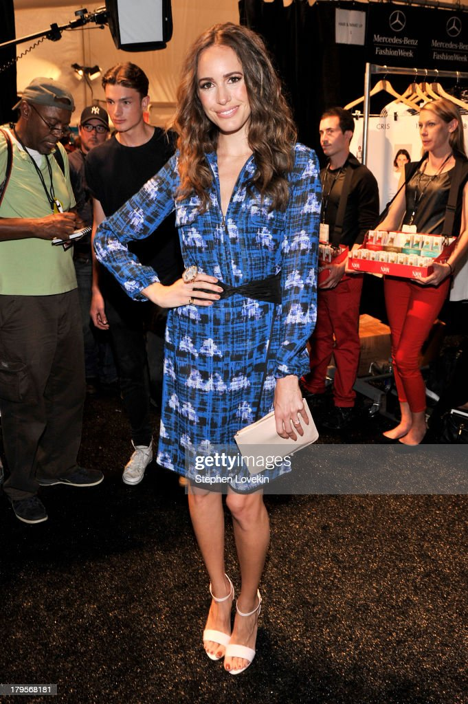 Television personality <a gi-track='captionPersonalityLinkClicked' href=/galleries/search?phrase=Louise+Roe&family=editorial&specificpeople=4300958 ng-click='$event.stopPropagation()'>Louise Roe</a> poses backstage at the Richard Chai Spring 2014 fashion show during Mercedes-Benz Fashion Week at The Stage at Lincoln Center on September 5, 2013 in New York City.