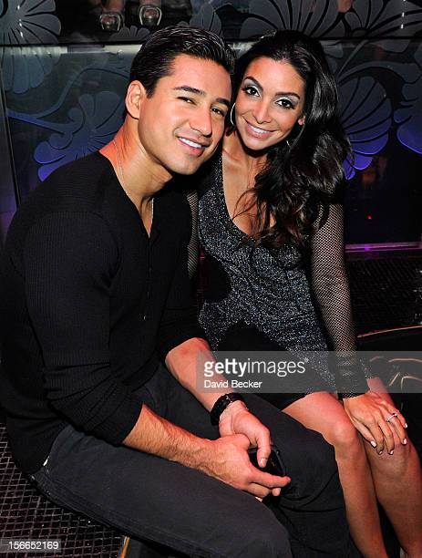 Television personality Mario Lopez and his fiancee Courtney Mazza appear at Mazza's bachelorette party at The Bank Nightclub at the Bellagio on...
